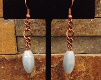 Turquoise Blue Copper Chain Long Drop Dangle Earrings