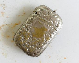 Antique Match safe. Vesta. Shield. Crest. Case. pill box. Silver. pendant. urn. Keepsake. fob. stash box. Tobacciana. LA