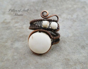 Boho ring // Wire Wrapped Ring / earthy jewelry / copper ring / White howlite wire wrapped jewelry handmade | wire jewelry | adjustable ring