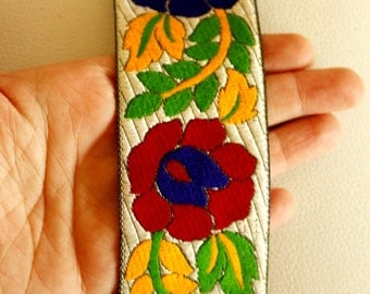 Blue, Red, Yellow And Green Flower Embroidery White Fabric Lace Trim, Approx. 50mm Wide - 140316L271B