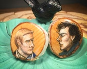 CLEARANCE - Hand drawn Sherlock and Watson wooden button set