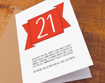21st Birthday Card / Funny Birthday Card / Funny 21 Card