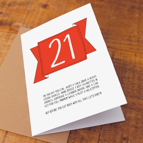Funny 21st Birthday Cards: 21st Birthday Card / Funny Birthday Card / Funny 21 Card