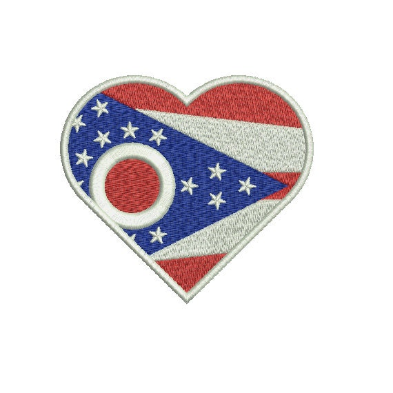 Machine embroidery design instant download heart ohio us