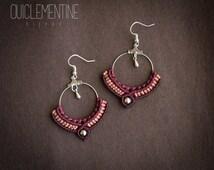 Ethnic macrame earrings, micro macrame earrings, gipsy micromacrame earrings, ethnic red earrings, macrame jewelry