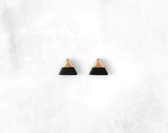 BLACK & Rose Gold Dipped Triangle Stud Earrings / Simple Everyday Modern Studs by Amoorella Jewelry