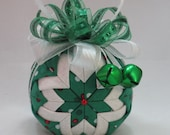 Holiday quilted ornament - Christmas fabric ornament, green polka dot fabric and white/silver sparkle fabric,  fancy bow, and green bells