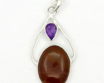 Excellent! New Brown Imperial Jasper,Amethyst 925 Sterling Silver Pendant A0491