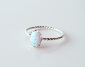 Opal Ring ~ Small Oval Opal Ring ~ Sterling Silver Twisted Ring ~ Dainty Opal Ring ~ October Birthday ~  Gift for Her ~ Stacking Ring