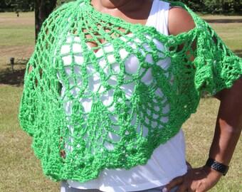 Green Versatile Styling Crochet Shawl - Poncho - Handmade