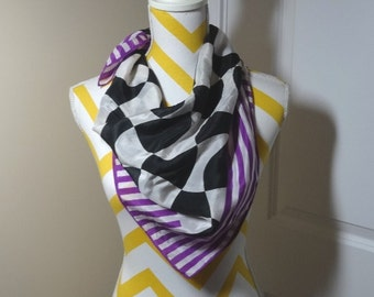 1970s Vintage Silk Scarf by The Specialty House, Stylized Checkerboard with Purple Stripes, 31 x 29.5 In. Made in Japan, Vintage Silk Scarf