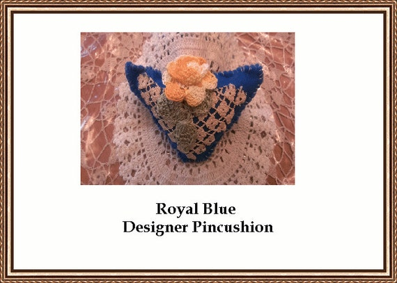 Royal Blue Triangle Designer Pincuhion Artisan Quality Handcrafted Great Gift