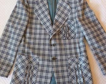 Vintage Johnny Miller Plaid Sports Coat~~Hipster 1970's Blue Plaid Blazer~~Sear's Mens Store Sports Coat~40 R~100% Fortrel Polyester