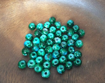 50x Green Glass Lampwork Bead For Jewelry Making, C404