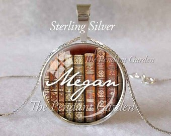 PERSONALIZED BOOK PENDANT 925 Sterling Silver Custom Library Book Jewelry Book Pendant Librarian Gift Books Necklace Bookworm Gift