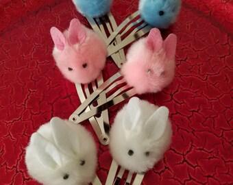 HAIR CLIPS: Pink, White and Blue Bunny Pom Pom Fuzzy Hair Clips