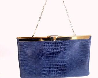 Vintage Purse, Blue Purse, Etra Purse, Leather Clutch,  Blue Purse, Clutch Purse, Leather Purse, Wedding Clutch, Snakeskin Embossing