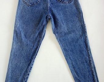 1980s acid wash Chic jeans, blue denim, high waist, tapered leg jeans, Medium