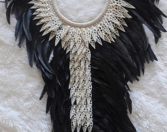 Papua Native Warrior necklace Black feathers and white  shells