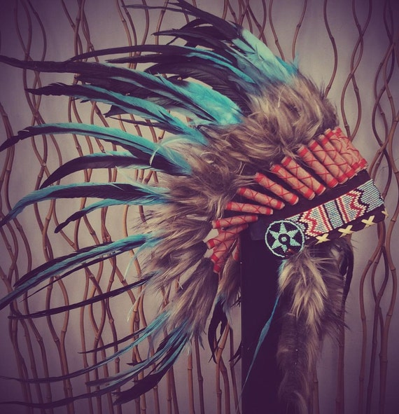 N55- Indian Light Blue / Turquoise  and dark Feather Headdress / Warbonnet.