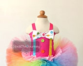 Pink Circus Clown Tutu Outfit - Neon Carnival Rainbow Birthday Party Twins Set - Candy Land Pageant Dress - Baby Girl Costume First 1 2 3 4