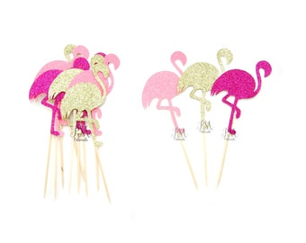 12 Mixed Glitter Flamingo Cupcake Toppers - Summer Cupcake Toppers, Summer Birthday, Tropical Party, Flamingo Party Decor