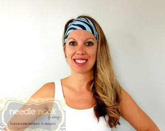 The Blue Zebra Yoga Headband - Spandex Headband - Boho Wide Headband