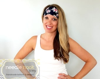 The Daisy Print Yoga Headband - Spandex Headband - Boho Wide Headband