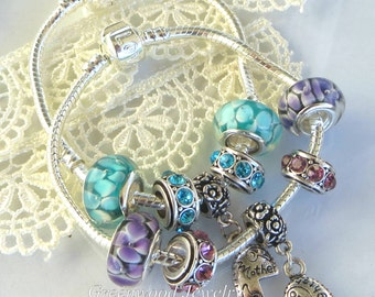 2PC Set - Mother - Daughter - European Style Charm Bracelet - Aqua/Purple Flowers Lampwork Glass And Crystal Beads - Kid Size Available Gift