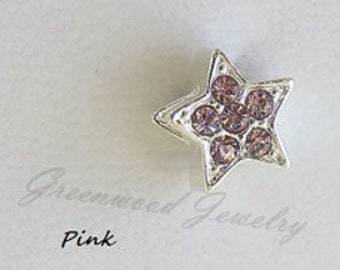 Pink Star, European Charm Bead, Large Hole Charm Bracelet And Necklace Chain, Star, Ice -October Birthstones- Great for Gift Giving!