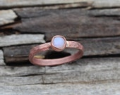 Moonstone Stacking Ring, Copper Thin Band, Hand forged Eco Recycled, Boho Moonstone, Nature Inspired, Organic, Raw