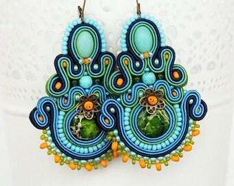 Blue soutache earrings, blue dangle earrings, large drop earrings, chandelier earrings, multicolor soutache earrings
