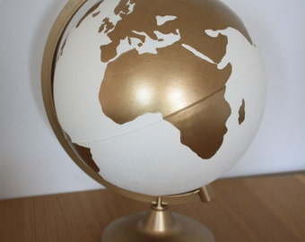Hand Painted White and Gold Globe | Wanderlust