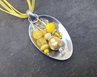 Spoon Necklace, Yellow Beads, Summer Necklace, Upcycled, Repurposed Silverware, Spoon Jewelry