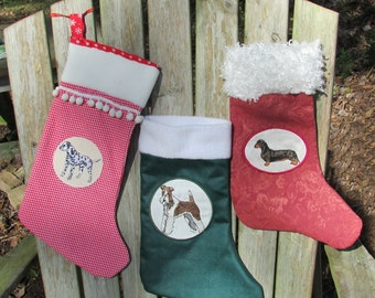 Dog Breed Specific Christmas Stocking Personalized - Choose your breed from many
