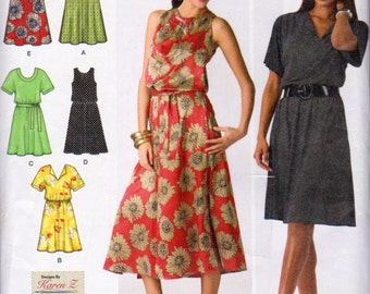 Simplicity 2929, Misses Size 20W, 22W, 24W, 26W and 28W Pullover Dress Pattern, V Neck Dress, Scoop Neck Dress, Sleeveless or Short Sleeves