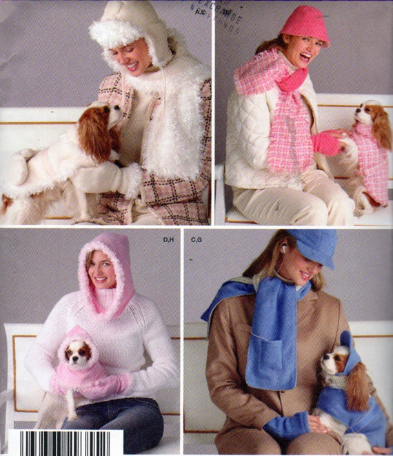 Simplicity 4316, Dog Clothes and Accessories Sewing Pattern, Ladies Hat and Scarf Pattern, Dog Coat, Dog Hat,