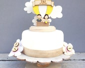 Hot air balloon wedding topper - shabby chic style personalised cake topper