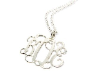 """Monogram Necklace Personalized 1"""". Sterling silver 925 monogram.  Silver monogram necklace. Initial necklace. Personalized necklace. jewelry"""