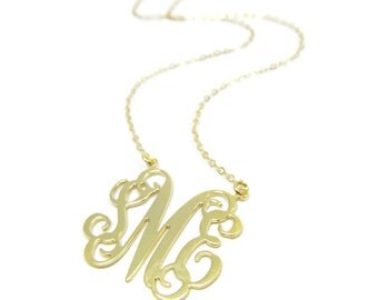 """Monogram Initial 1.25"""" necklace. Personalized Necklace. Gold plated sterling silver 925. Monogram necklace. Gold monogram necklace. Gifts"""