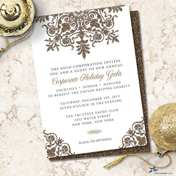 glitter look ornamental corporate holiday party invitation any