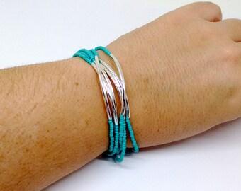 Turquoise bracelet, noodle multistrand bracelet, beaded bracelet, aqua bracelet, seed bead bracelet,beaded bracelet,bridesmaid gift,teal