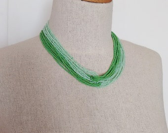 Ombre green necklace, green necklace, bridesmaid necklace,mint necklace,statement necklace,bridesmaid gift,seed bead necklace,beaded,light