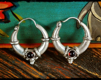 Garnet Hoop Earrings - Small - Ethnic Hoop Earrings