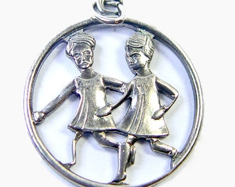 Sterling Girlfriends Charm - Vintage Best Friends Pendant from Germany - Unique Running Figures - Friendship Charm