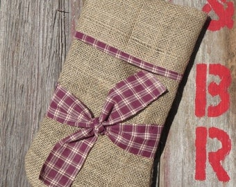 Country Primitive Burlap Christmas Stocking