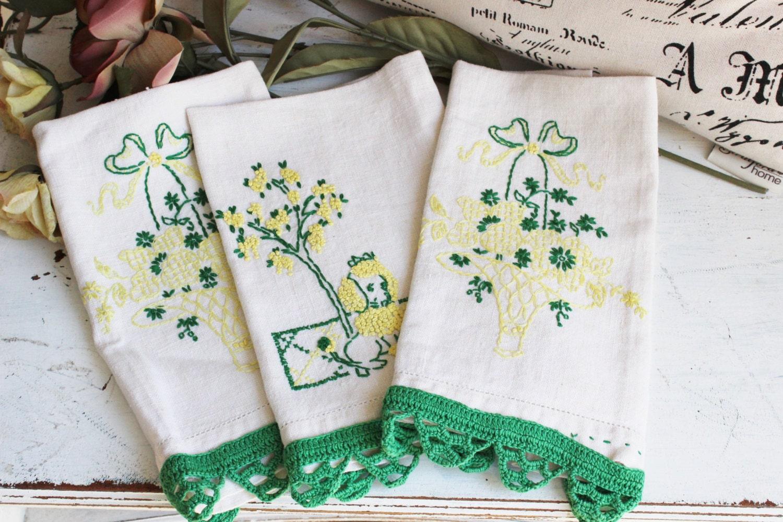 vintage linen tea towel set embroidered linen hand towel. Black Bedroom Furniture Sets. Home Design Ideas