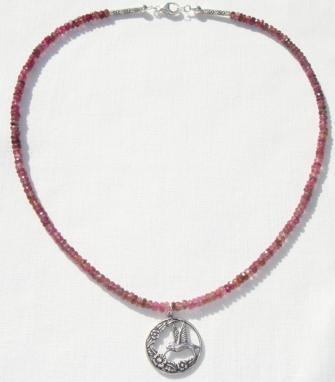 dark pink tourmaline necklace sterling hummingbird pendant. Black Bedroom Furniture Sets. Home Design Ideas