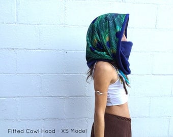 Cowl Hood, Convertible, Fleece/Spandex, Reversible HOOD | Unisex | Custom, Peacock Hood, Cowl, Shrug, Hood Mask, Galaxy, Festival, Burner