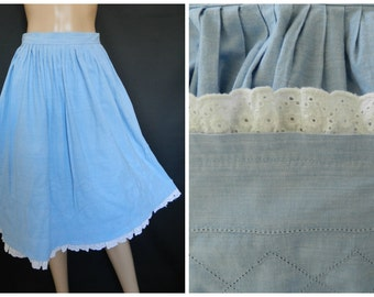 70's COTTON chambray cowgirl baby blue  rockabilly circle skirt broderie anglaise  U.K. 8 -10 SM